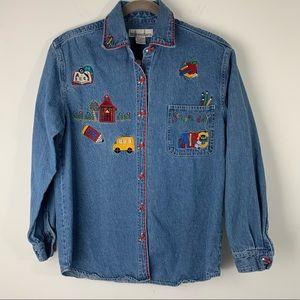 Vintage School Teacher Denim Button Up Shirt Small